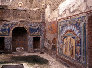 Inside the remians of one of the Roman Villas, Herculaneum, Near Naples, Campania, Italy, Europe