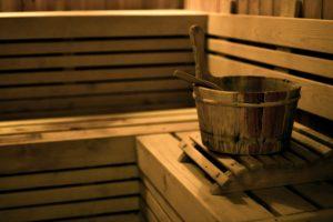 Sauna bucket in wooden sauna room